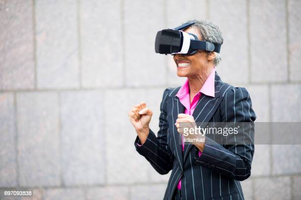 African American Businesswoman Virtual Reality Headset