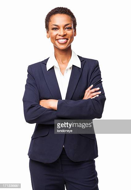 african american businesswoman with hands folded - isolated - three quarter front view stock pictures, royalty-free photos & images