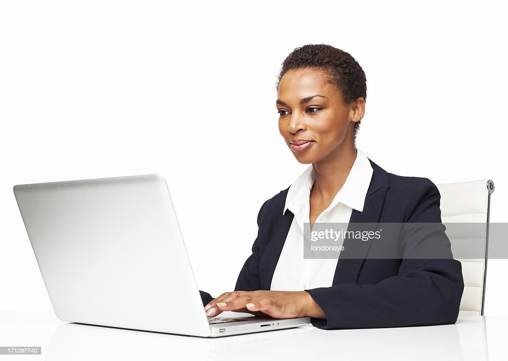 African American Businesswoman Working On Laptop - Isolated : Stock Photo