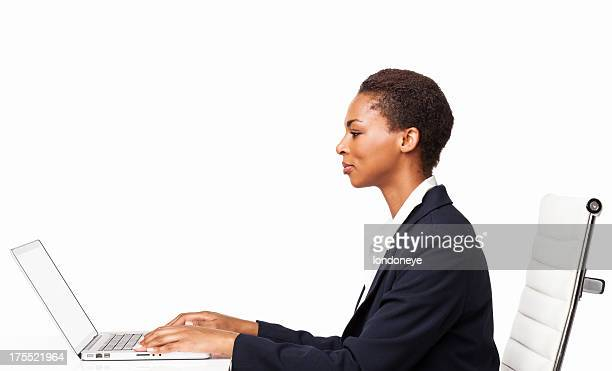 African American Businesswoman Working On Laptop - Isolated