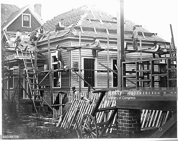 African American carpenters construct a building at Claflin University in Orangeburg South Carolina ca 1899 | Location Claflin University Orangeburg...
