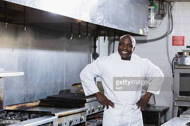 African American chef in commercial kitchen