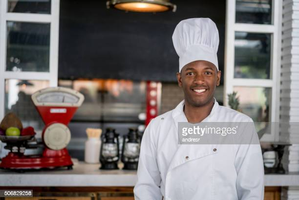 African American chef working at a restaurant
