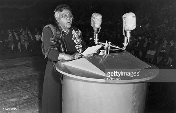 African American civil rights leader Mary McLeod Bethune speaks to a crowd at Madison Square Garden