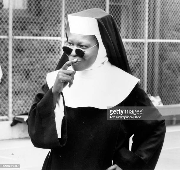 African American comedian and actress Whoopi Goldberg in Sister Act 1992