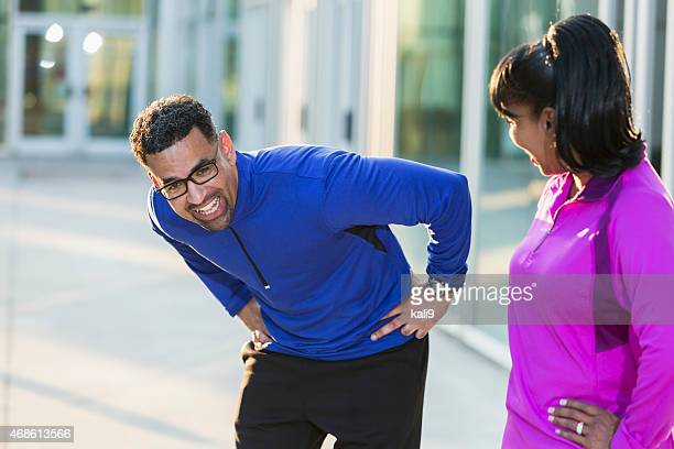 African American couple exercising together