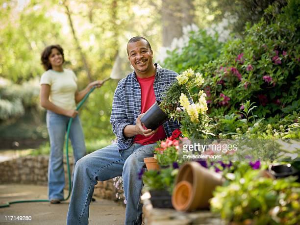 African American Couple in Flower Garden