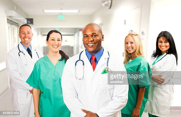 African American Doctor with his Medical Team