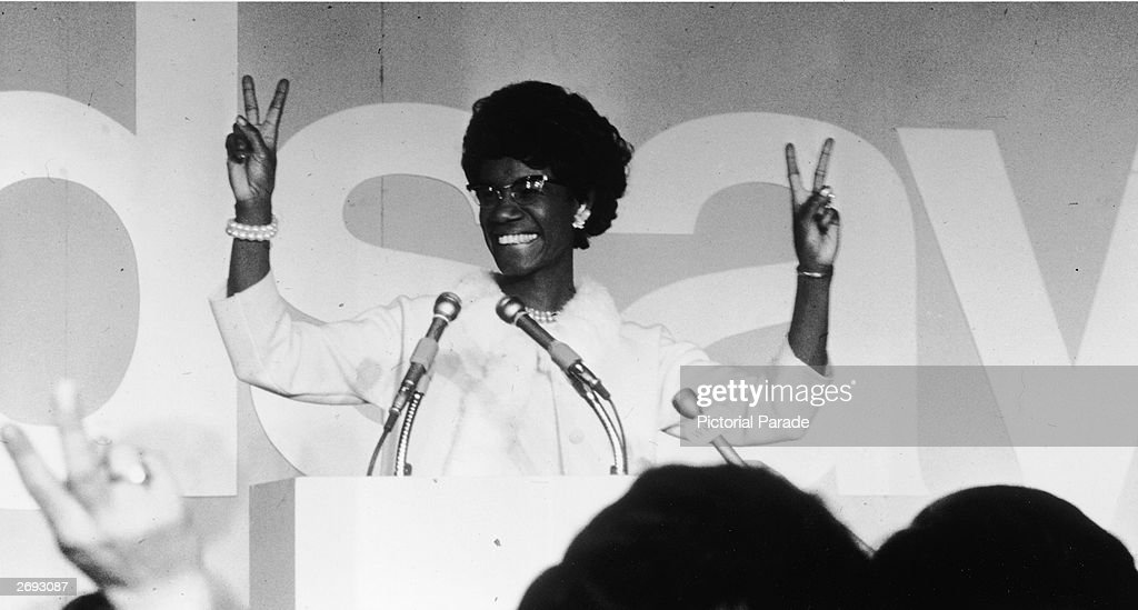 Shirley Chisholm Gives the Victory Sign : News Photo