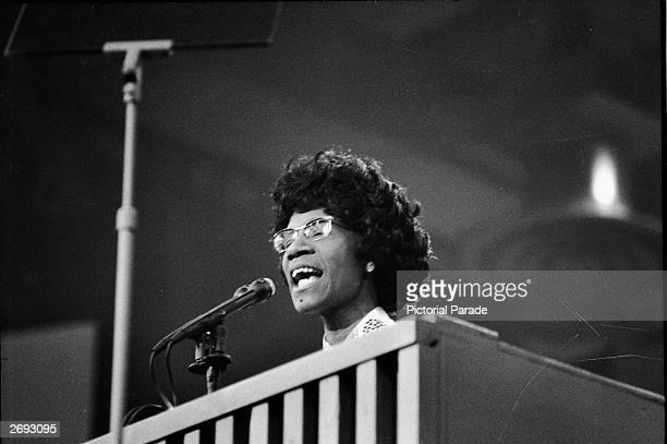 African American educator and US Congresswoman Shirley Chisholm speaks at a podium at the Democratic National Convention Miami Beach Florida July 1972