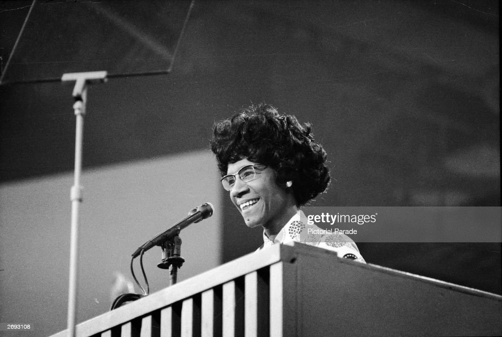 African American educator and U.S. Congresswoman Shirley Chisholm speaks at a podium at the Democratic National Convention, Miami Beach, Florida, July 1972.