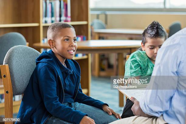 African American elementary student in after school program