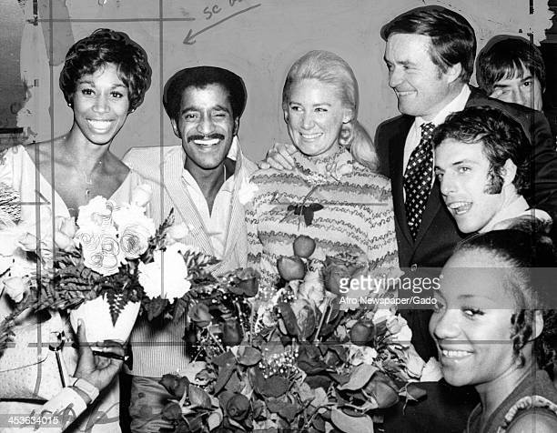African American entertainer Sammy Davis Junior and his wedding party immediately following his marriage to Altovise Gore 1970