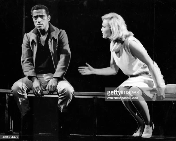 African American entertainer Sammy Davis Junior with actress Paula Wayne on the set of Golden Boy 1964