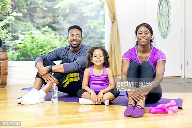 African american family after a home fitness session