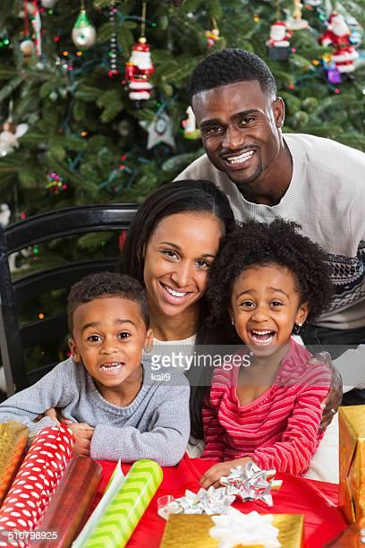African American family enjoying Christmas holiday season