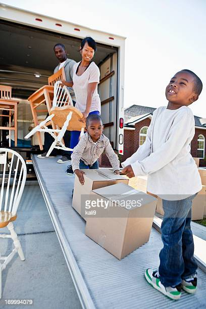 African American family moving house