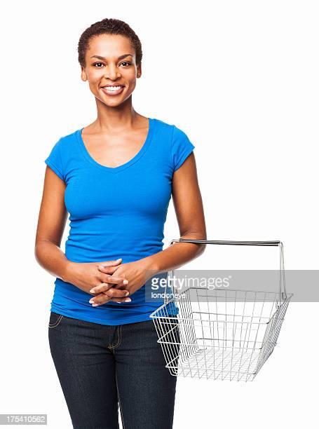 African American Frauen mit einem leeren Warenkorb-isoliert