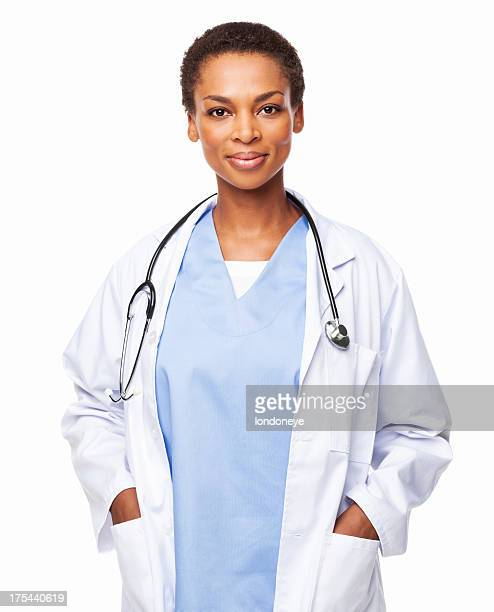 African American Female Doctor Standing With Hands In Pockets-Isolated