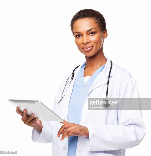 African American Female Doctor With a Tablet Computer - Isolated