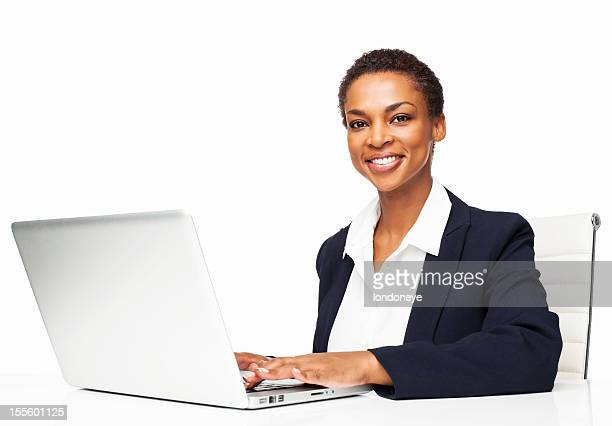African American Female Executive Working On Laptop - Isolated