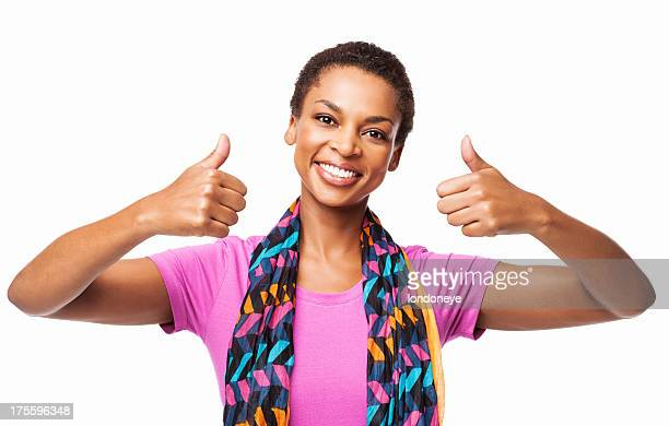 African American Femme faisant un Double Thumbs Up-isolé