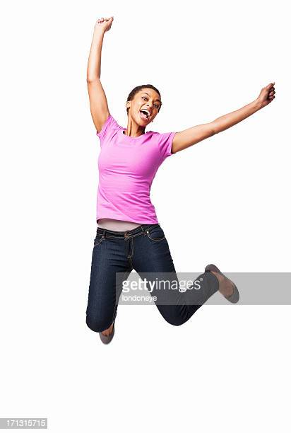 African American Female Jumping In Excitement - Isolated