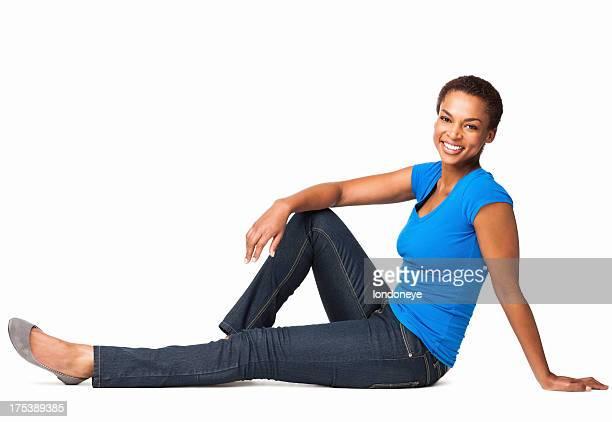 アフリカ系アメリカ人女性の床に座るまで絶縁