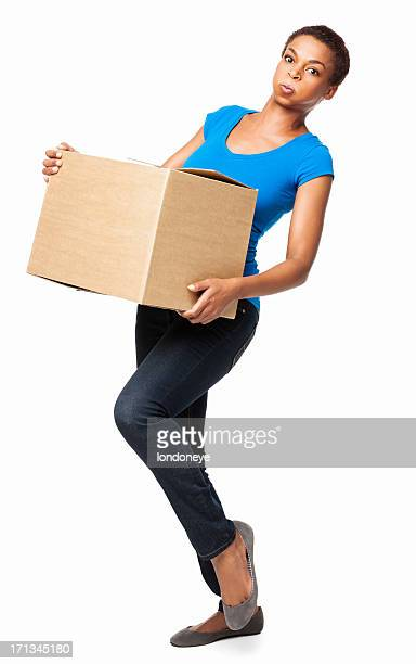 African American Female Stumbling While Carrying Cardboard Box