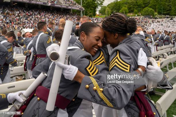 African American female West Point graduates celebrate at the conclusion of the U.S. Military Academy Class of 2019 graduation ceremony at Michie...