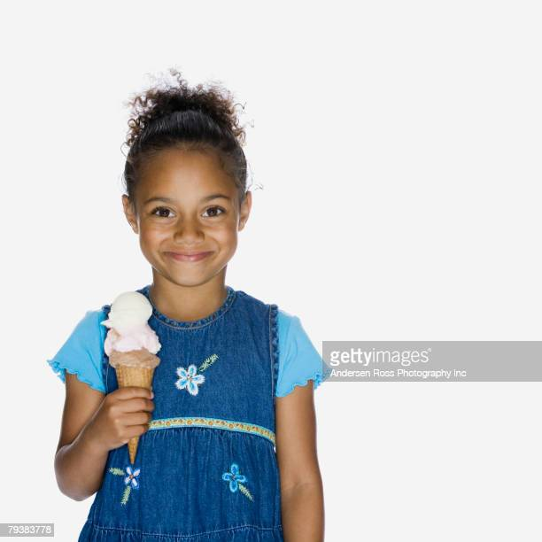 African American girl holding ice cream cone