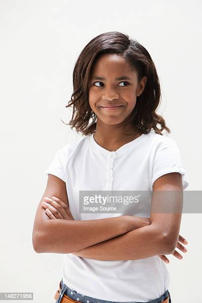 African American girl looking away, studio shot