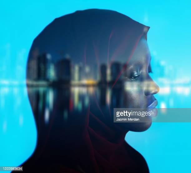 african american girl on night city double exposure - menselijk hoofd stockfoto's en -beelden