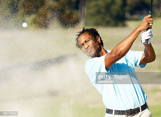 African American golfer during a game of golf