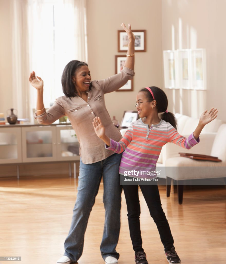 living room dancers american grandmother and granddaughter in 10698