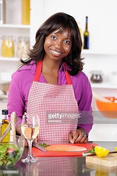 African American Housewife  Preparing Fish