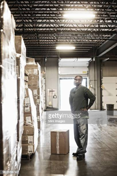 African American male warehouse worker checking inventory on stacks of cardboard boxes holding products in a large distribution warehouse with loading dock door in the background.