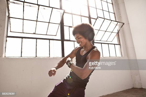african american man dancing in loft - one man only stock pictures, royalty-free photos & images
