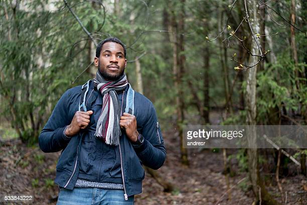 African American man hiking