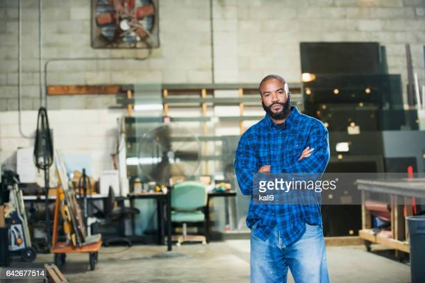 African American man in a factory workshop
