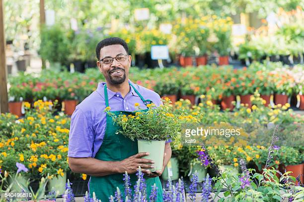 African American man, owner of plant nursery