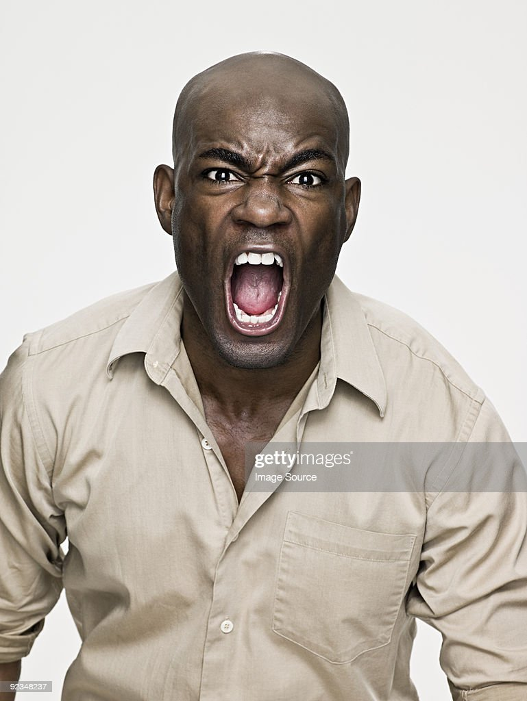 African american man shouting : Stock Photo