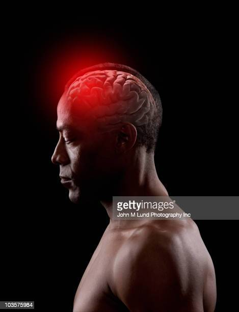 African American man with glowing brain