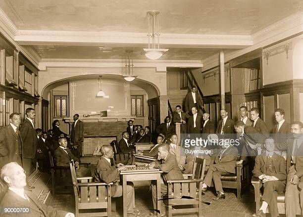 African American men in the lobby of the Chicago colored YMCA