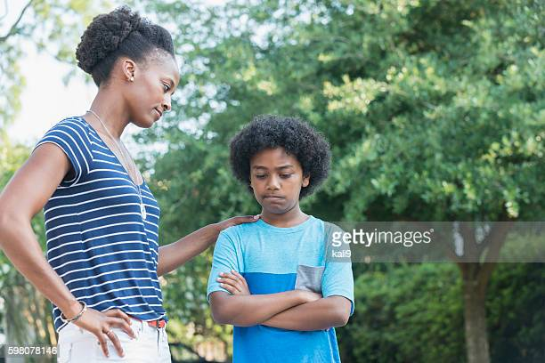 african american mother with mixed race son, parenting - penalty stock pictures, royalty-free photos & images