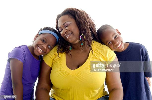 African American Mother with Twins Isolated on White