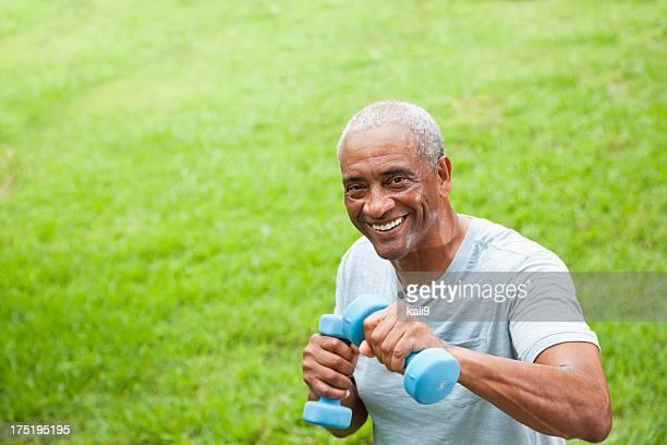 African American senior man exercising