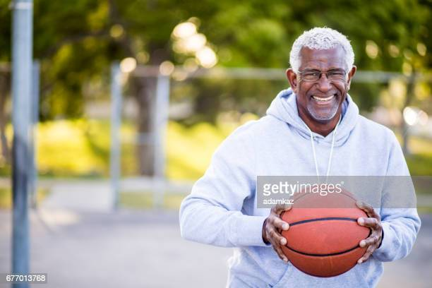 African American Senior Man with Basketball