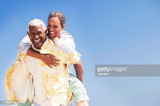African American Seniors Piggyback