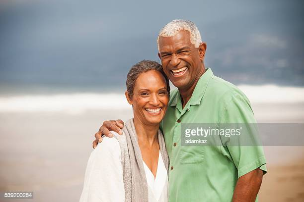 African American Seniors Together on Beach